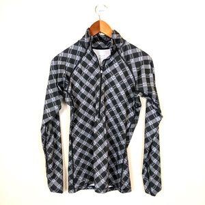 Nike gray plaid half zip pullover jacket